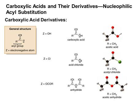 1 Carboxylic Acids and Their Derivatives—Nucleophilic Acyl Substitution Carboxylic Acid Derivatives: