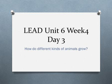 LEAD Unit 6 Week4 Day 3 How do different kinds of animals grow?