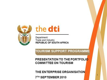 1 TOURISM SUPPORT PROGRAMME PRESENTATION TO THE PORTFOLIO COMMITTEE ON TOURISM THE ENTERPRISE ORGANISATION 7 TH SEPTEMBER 2010.