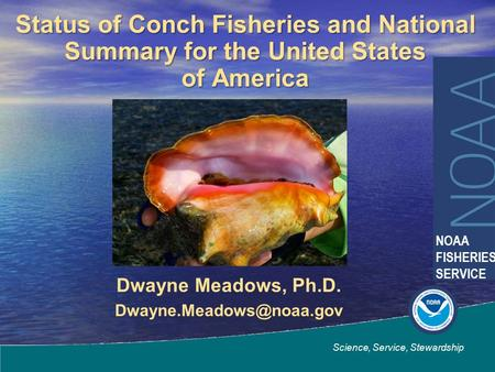 Dwayne Meadows, Ph.D. Science, Service, Stewardship NOAA FISHERIES SERVICE Status of Conch Fisheries and National Summary for the.