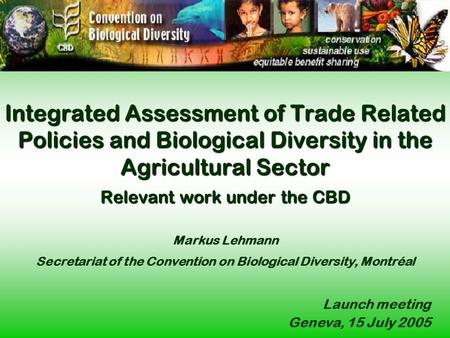Integrated Assessment of Trade Related Policies and Biological Diversity in the Agricultural Sector Relevant work under the CBD Integrated Assessment of.