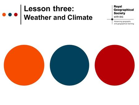 Lesson three: Weather and Climate. Weather and Climate Weather reflects short- term conditions of temperature, precipitation, cloud cover and air pressure.
