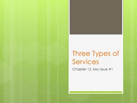 Three Types of Services Chapter 12, Key Issue #1.