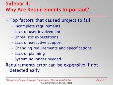 Pfleeger and Atlee, Software Engineering: Theory and PracticePage 4.1 © 2006 Pearson/Prentice Hall Sidebar 4.1 Why Are Requirements Important? Top factors.