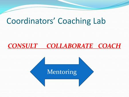 Coordinators' Coaching Lab CONSULTCOLLABORATECOACH Mentoring.