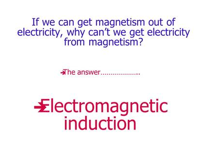 If we can get magnetism out of electricity, why can't we get electricity from magnetism? TThe answer……………….. EElectromagnetic induction.
