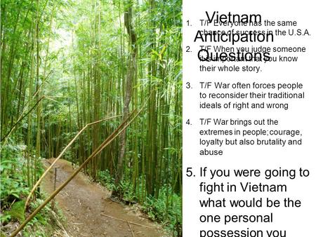 Vietnam Anticipation Questions 1. T/F Everyone has the same chance of success in the U.S.A. 2. T/F When you judge someone it is important that you know.