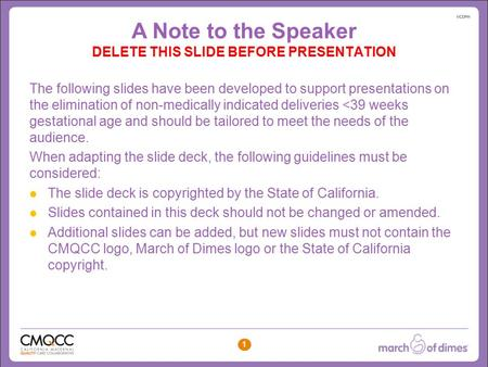 Click to edit Master title style Click to edit Master subtitle style 1 A Note to the Speaker DELETE THIS SLIDE BEFORE PRESENTATION The following slides.