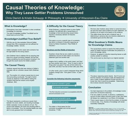 What is Knowledge? Knowledge=Justified True Belief? The Causal Theory What Goodman's Riddle Means for Knowledge Claims Chris Dierich & Kristin Schaupp.