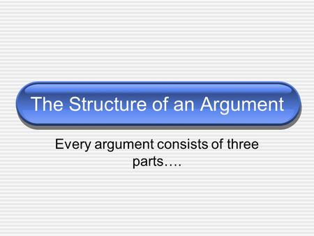 The Structure of an Argument Every argument consists of three parts….