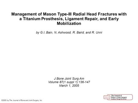 Management of Mason Type-III Radial Head Fractures with a Titanium Prosthesis, Ligament Repair, and Early Mobilization by G.I. Bain, N. Ashwood, R. Baird,