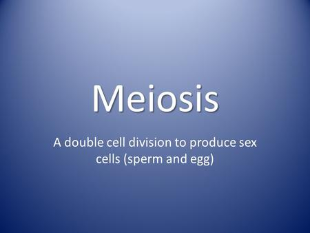 Meiosis A double cell division to produce sex cells (sperm and egg)