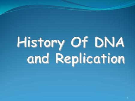 History Of DNA and Replication