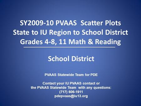 SY2009-10 PVAAS Scatter Plots State to IU Region to School District Grades 4-8, 11 Math & Reading PVAAS Statewide Team for PDE Contact your IU PVAAS contact.