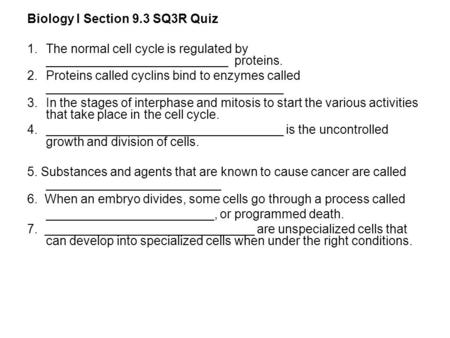 Biology I Section 9.3 SQ3R Quiz