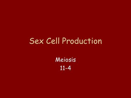 Sex Cell Production Meiosis 11-4 Sex cells = Gametes Egg cell + Sperm cell Where have they been mentioned before?