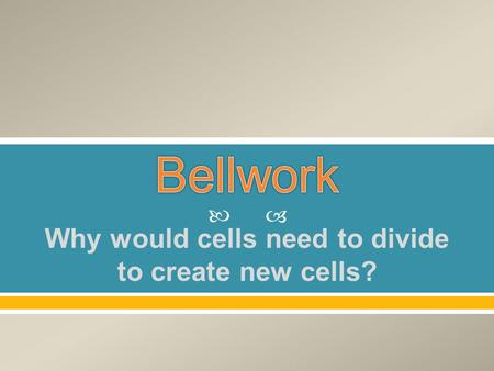  Why would cells need to divide to create new cells?