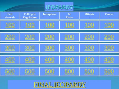 Cancer. Mitosis. M Phase Interphase. Cell Cycle Regulation Cell Growth 100 200 300 400 500 FINAL JEOPARDY FINAL JEOPARDY.