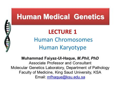 Human Medical Genetics LECTURE 1 Human Chromosomes Human Karyotype Muhammad Faiyaz-Ul-Haque, M.Phil, PhD Associate Professor and Consultant Molecular Genetics.