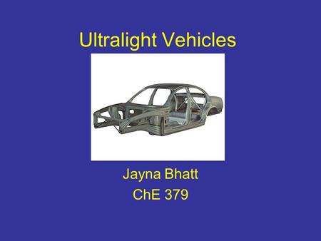 Ultralight Vehicles Jayna Bhatt ChE 379. Overview What are Ultralight Vehicles? Ultralight Materials Composites and their Benefits Safety Efficiency Cost.