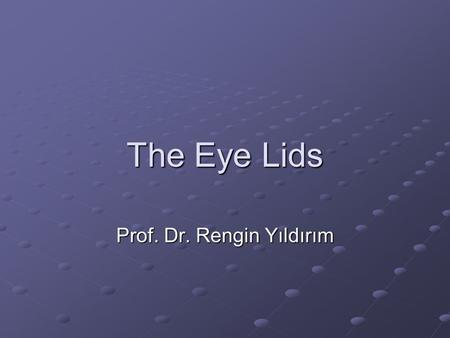 The Eye Lids Prof. Dr. Rengin Yıldırım. Normal Anatomy Both the upper & lower eyelids have similar structure They consist of an anterior lamella (skin.