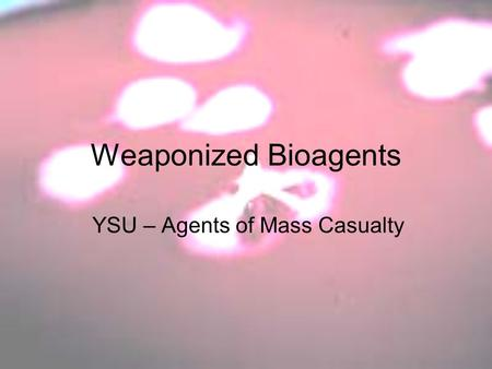 Weaponized Bioagents YSU – Agents of Mass Casualty.