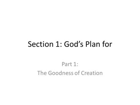Section 1: God's Plan for Part 1: The Goodness of Creation.
