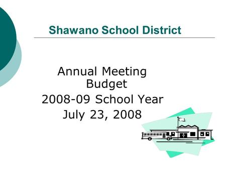 Shawano School District Annual Meeting Budget 2008-09 School Year July 23, 2008.