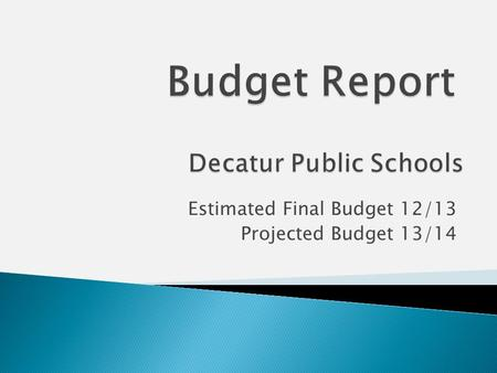Estimated Final Budget 12/13 Projected Budget 13/14.