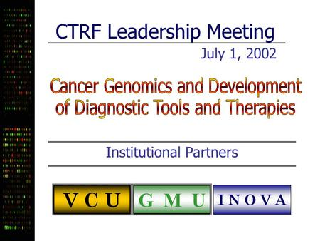 CTRF Leadership Meeting July 1, 2002 Institutional Partners V C U G M U I N O V A.