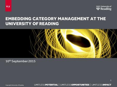LIMITLESS POTENTIAL | LIMITLESS OPPORTUNITIES | LIMITLESS IMPACT Copyright University of Reading EMBEDDING CATEGORY MANAGEMENT AT THE UNIVERSITY OF READING.