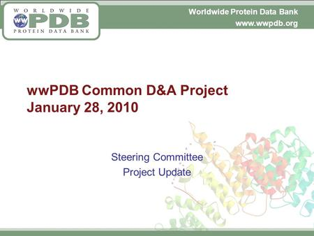 Worldwide Protein Data Bank www.wwpdb.org wwPDB Common D&A Project January 28, 2010 Steering Committee Project Update.