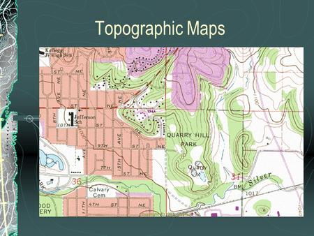Topographic Maps. Contour lines A line which connects points of equal elevation. Index Contours: Thick contour lines which have the elevation written.