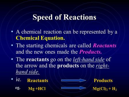 Speed of Reactions A chemical reaction can be represented by a Chemical Equation. The starting chemicals are called Reactants and the new ones made the.