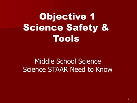 1 Objective 1 Science Safety & Tools Middle School Science Science STAAR Need to Know.