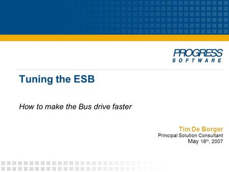 Tim De Borger Principal Solution Consultant May 18 th, 2007 Tuning the ESB How to make the Bus drive faster.