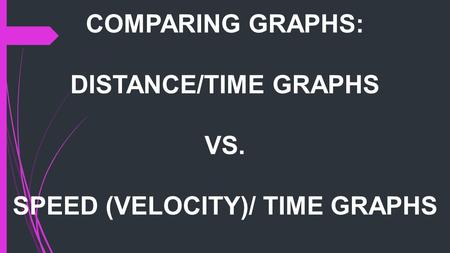 SPEED (VELOCITY)/ TIME GRAPHS