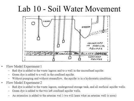 Lab 10 - Soil Water Movement Flow Model Experiment 1 –Red dye is added to the waste lagoon and to a well in the unconfined aquifer. –Green dye is added.