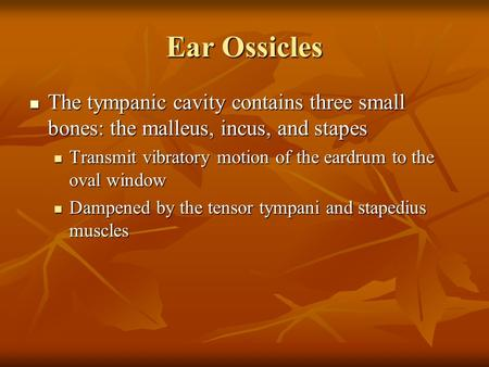 Ear Ossicles The tympanic cavity contains three small bones: the malleus, incus, and stapes The tympanic cavity contains three small bones: the malleus,