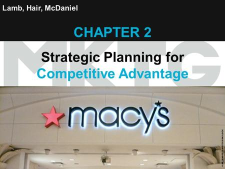 Chapter 2 Copyright ©2012 by Cengage Learning Inc. All rights reserved 1 Lamb, Hair, McDaniel CHAPTER 2 Strategic Planning for Competitive Advantage ©