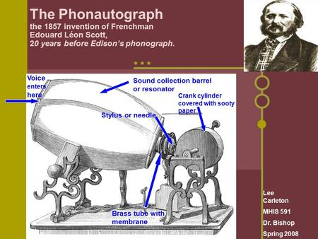 The Phonautograph the 1857 invention of Frenchman Edouard Léon Scott, 20 years before Edison's phonograph. Sound collection barrel or resonator Voice enters.