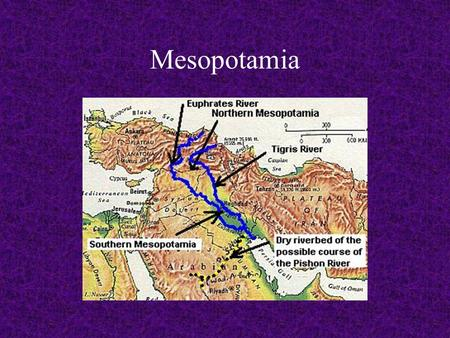 Mesopotamia. Mesopotamia is at the eastern end of the Fertile Crescent, an arc of land from the Mediterranean Sea to the Persian Gulf.