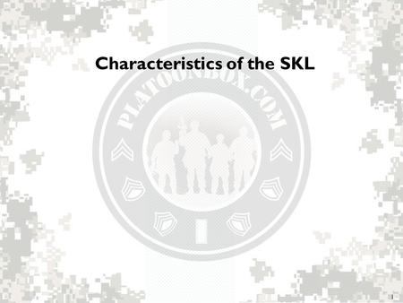 Characteristics of the SKL