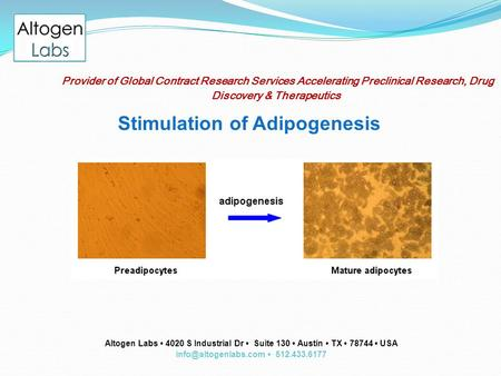 Provider of Global Contract Research Services Accelerating Preclinical Research, Drug Discovery & Therapeutics Stimulation of Adipogenesis Altogen Labs.