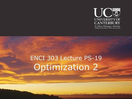 ENCI 303 Lecture PS-19 Optimization 2