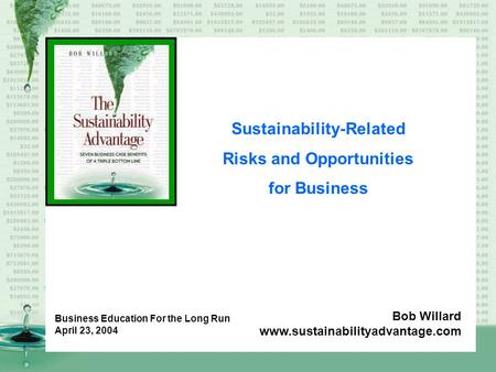 Sustainability-Related Risks and Opportunities for Business Bob Willard www.sustainabilityadvantage.com Business Education For the Long Run April 23, 2004.