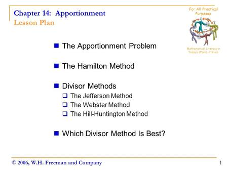 Chapter 14: Apportionment Lesson Plan The Apportionment Problem The Hamilton Method Divisor Methods  The Jefferson Method  The Webster Method  The Hill-Huntington.