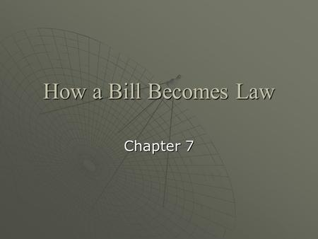 How a Bill Becomes Law Chapter 7.  A.Types of Bills and Resolutions 1. Bills — these are proposed laws presented to Congress. Public bills apply to the.