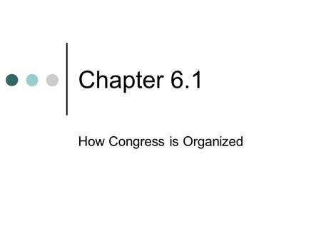 Chapter 6.1 How Congress is Organized. Terms of Congress The Framers of the U.S. Constitution intended the legislative branch to be the most powerful.
