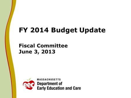 FY 2014 Budget Update Fiscal Committee June 3, 2013.